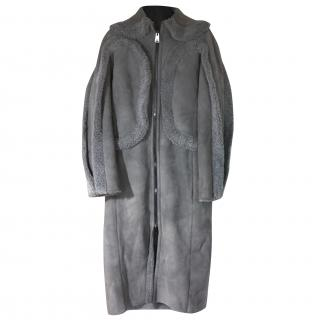 BNWT Fendi Grey Shearling/Suede Long Coat