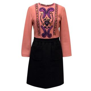 Miu Miu Pink & Black Embellished Dress