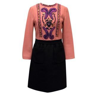 Miu Miu Pink & Black Embellished Dress