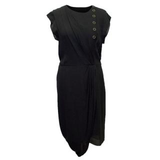 Phillip Lim Black Sleeveless Dress with Gold Buttons