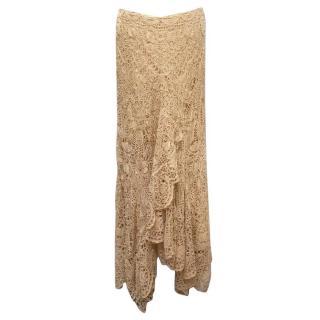 Ralph Lauren Nude Crochet Skirt