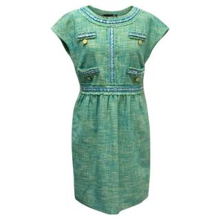 Love Moschino Tweed Green Mini Dress