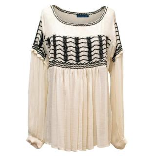 Ralph Lauren Cream and Black Embroidered Peasant Blouse
