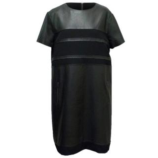 Sportmax Code Black  Dress with Leather Panels