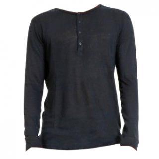 Balmain Men's Navy Blue Long Sleeved Linen Henley Top