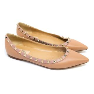 Valentino Nude Rockstud Flats with Gold Hardware Studs