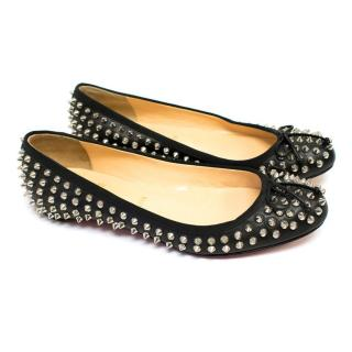 Christian Louboutin Black Big Kiss' Spike Ballet flats