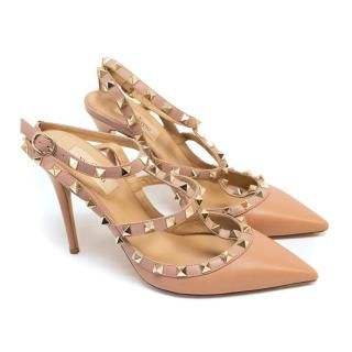 Valentino Rockstud 100 Nude Pumps with Gold Hardware Studs