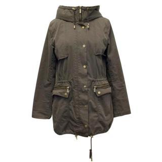 Michael Kors Kahki Jacket with Rabbit Fur Hood