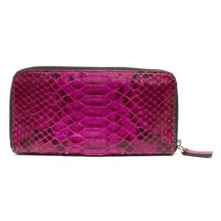 Zagliani Pink Snakeskin Wallet