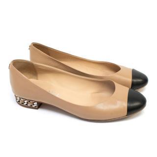 Chanel Nude & Black Flats with Chain Heel