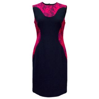 Erdem Blue Dress with Pink Lace Detail