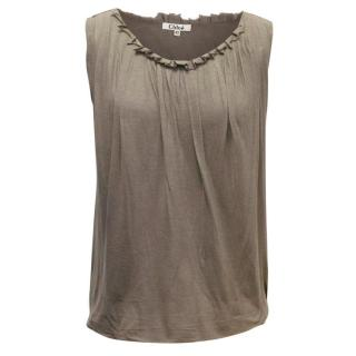 Chloe Brown Sleeveless Blouse with Ruching