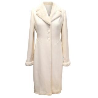Valentino Cream Crepe Coat with Rabbit Fur Lapel & Cuffs