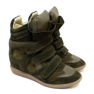 Isabel Marant Khaki Beckett High Top Sneakers