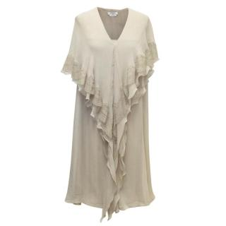 Givenchy Taupe Sleeveless Sheer Dress with Lace Ruffles