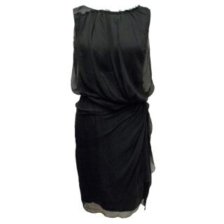 Chloe Silk Ruched Black Dress