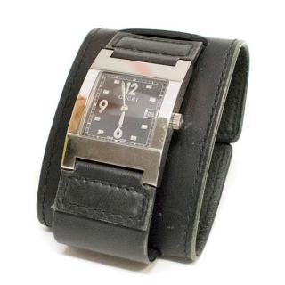 Gucci Black Leather Bracelet Watch