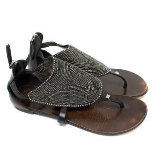 Giuseppe Zanotti Black Beaded Thong Sandals