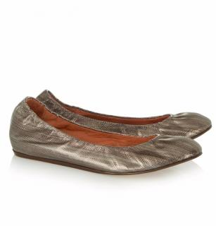 Lanvin Metallic Leather Ballet Flats 37
