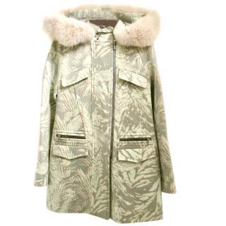 Matthew Williamson Printed Fur Hood Duffle Coat