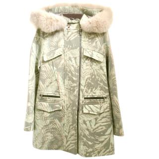 Matthew Williamson Printed Fur Hood Duffle Coat