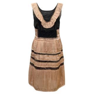 Alberta Ferretti Black and Blush Pink Silk Dress