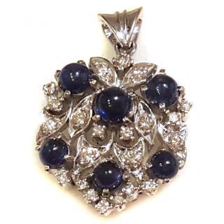 Cabouchon Sapphire & Diamond Pendant 14ct Gold