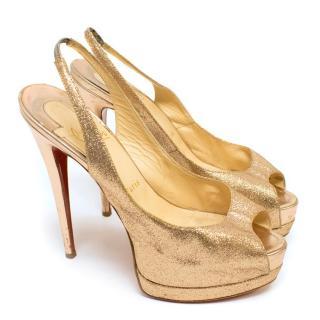 Christian Louboutin No Prive Rose Gold Glitter Slingback Heels