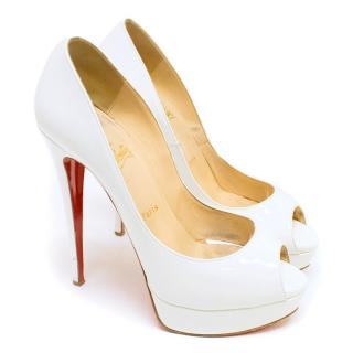 Christian Louboutins White Patent Lady Peeptoe Pumps