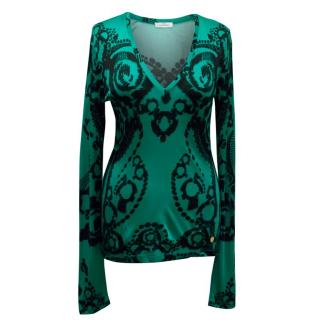 Versace Collection Teal Long Sleeve Top with Black Print