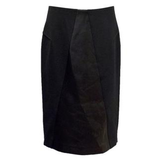 Roland Mouret Black Pencil Skirt With Leather Panel