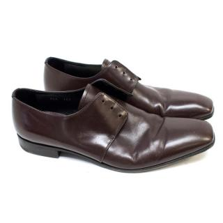 Prada Dark Brown Lace-less Dress Shoes