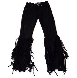 NEW Alexander McQueen McQ Goat Leather Trousers with Tassels/Fringes