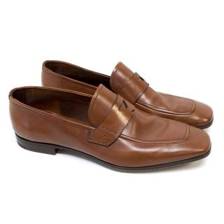Prada Mens Brown Leather Loafers
