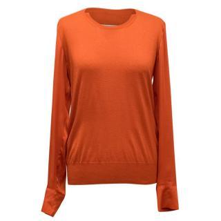 Stella McCartney Orange Jumper With Silk Sleeve