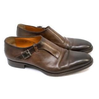 Santoni Brown Single Buckle Monkstrap Dress Shoes