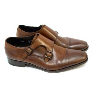 To Boot New York Brown Leather Grant Monk Strapped Shoes