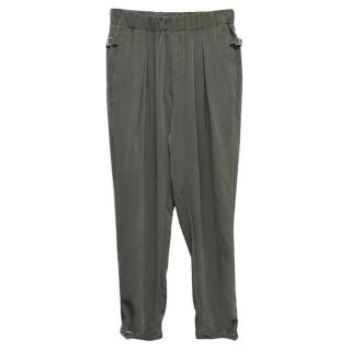 Helmut Lang Khaki Silk Trousers