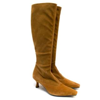 Stuart Weitzman Knee High Brown Suede Heeled Boots