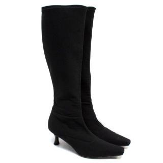 Stuart Weitzman Knee High Black Suede Heeled Boots