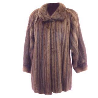 Muskrat Fur Vintage Brown Coat