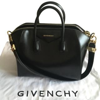 Shiny Black Leather Medium Antigona Bag