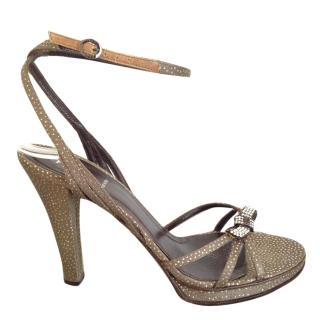 Fendi leather bronze high sandals with embedded strass