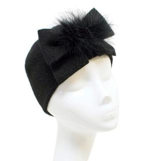Helene Berman Black Pullon Hat with Feathers and Bow