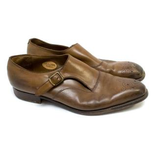 Ralph Lauren Brown Leather Monk Strapped Shoes