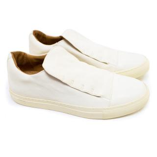 John Varvatos White Reed Laceless Low Top Sneakers