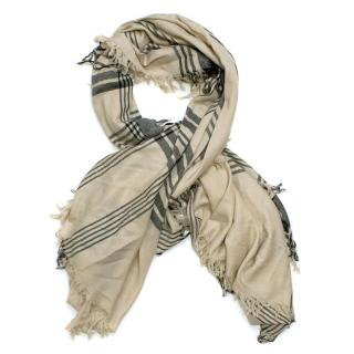 Malene Birger Beige Scarf with Black Check Detail