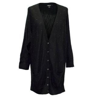 DKNY Black Cardigan with Silver Embellishments