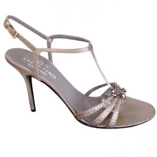 Valentino bow strass silver metallic T-strap high sandals with strass
